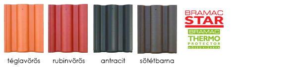 Bramac római star tetőcserép színek